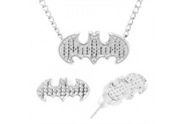DC Comics Batman Embossed Logo Necklace Earrings Jewelry Set