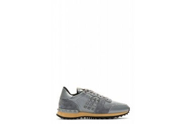 Valentino Grey Leather Rockstud Sneakers