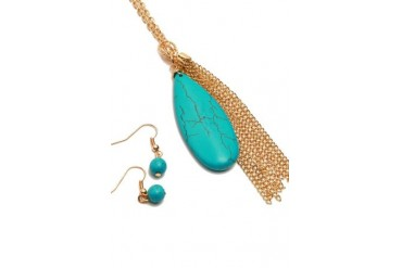 Turquoise Stone Tassel Necklace - Gold Silver