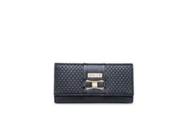 Unisa Lozenge Debossed Pattern Long Ladies Wallet With Bow-Knot Embellishment