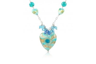 Vortice - Turquoise Murano Glass Swirling Heart Sterling Silver Necklace
