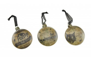 3 Pc. Bethany Lowe Vintage Style Glass Disc Halloween Ornament Set