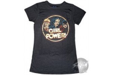 DC Comics Girl Power Black Baby Doll Tee by JUNK FOOD