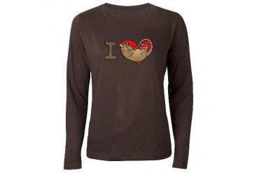 I heart rats tan Women's Long Sleeve Dark T-Shir Pets Women's Long Sleeve Dark T-Shirt by CafePress