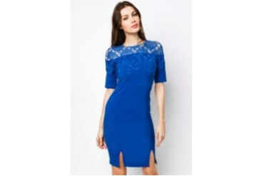 COVEQ London Embroidery and Lace Detail Shift Dress with Front Slits