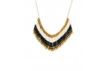 Panacea Tri-Colored Beaded Fringe Necklace Black