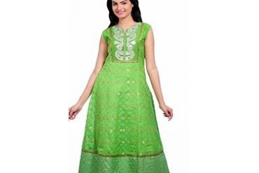 Green Cotton Jacquard Kalidar Suit