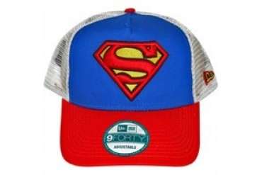 DC Comics Superman Shield Logo on Front and Mesh Embroidered Snap Closure Mesh Hat