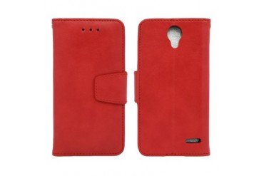 ZTE Prestige N9132 Edge Folio Leather Wallet Pouch Case Cover Red