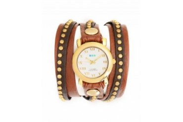 La Mer 'Bali' Watch With Gold Stud Wrap Brown