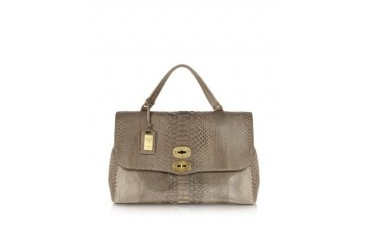 Stone Python Leather Satchel Bag