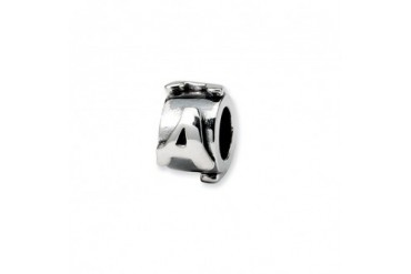 Letter A, Alphabet Charm in Sterling Silver For 3mm Charm Bracelets