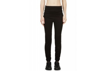 Rick Owens Black Knit Ribbed Leggings