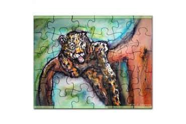 Leopard Wildlife art Art Puzzle by CafePress
