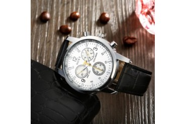 Geneva Inspired Faux Leather Watch- Ivory