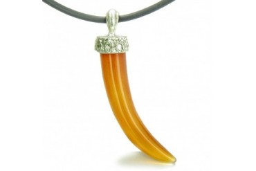 Amulet Italian Horn Lucky Charm Carnelian Protection Leather Necklace