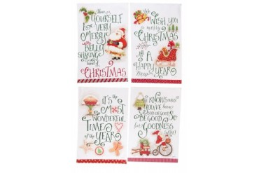 We Wish You Merry Christmas Cheer Jolly Santa Kitchen Tea Towels Set of 4