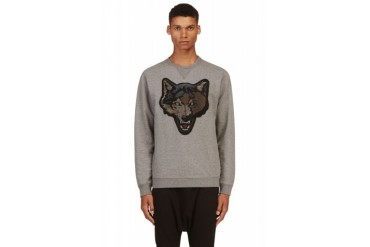 Diesel Grey Embroidered Wolf S tusti Sweater