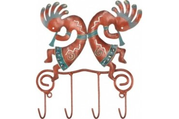 Southwestern Kokopelli Fertility Quad Key Wall Hooks Peg Regal Art