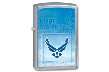 Zippo Airforce Core Values Street Chrome Lighter