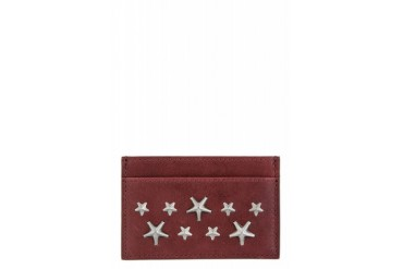 Jimmy Choo Plum Leather Studded Dean Card Holder