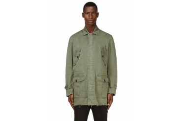 Dsquared2 Green Twill Military Cargo Coat