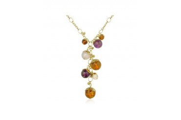 Tulipani - Gemstone Charms 18K Gold Drop Necklace
