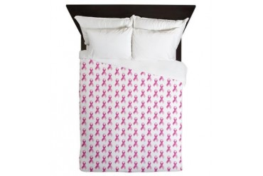 Breast Cancer Awareness Pink Ribbon Breast cancer Queen Duvet by CafePress