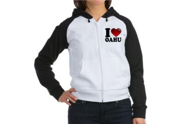 I Heart Oahu Love Women's Raglan Hoodie by CafePress