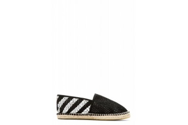 Off white Black And White Perforated Espadrilles