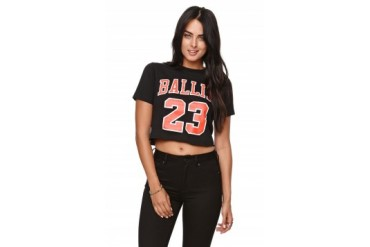 Womens Reason Tees & Tanks - Reason Ballin 23 Crop T-Shirt