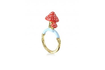 Chaperon et Champignon Red Polka-Dot Mushroom Ring