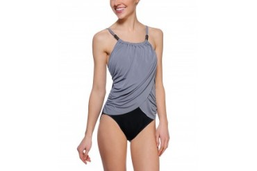 Magicsuit 'Lisa' Draped High Neck One Piece Swimsuit Taupe, 10