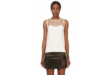 Rag And Bone Ivory Mesh Yoke Franklin Top