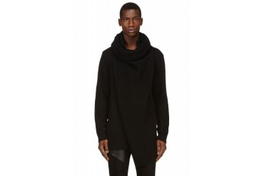 D.gnak By Kang.d Black Draped Oversized Turtleneck