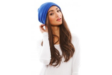 Barca Slouchy Hat with Fleece Lining in Cobalt - designed by Plush