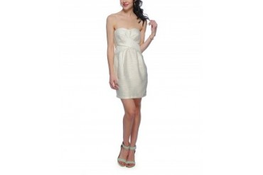Fable Strapless Metallic Dress Ivory, XS