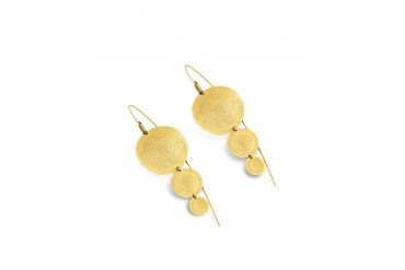 Golden Silver Etched Round Triple Drop Earrings