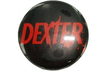Dexter Red Name on Black Button