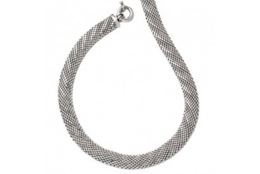 11.5mm Mesh Link Necklace in Sterling Silver, 17 Inch