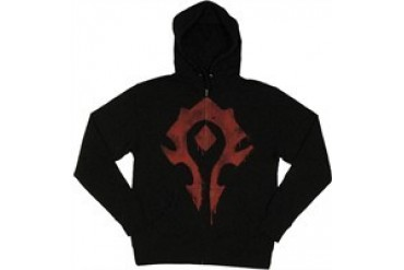 World of Warcraft Horde Spray Logo Full Zipper Hooded Sweatshirt