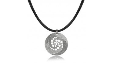 Silver Etched Crop Circle Round Pendant w/Leather Lace