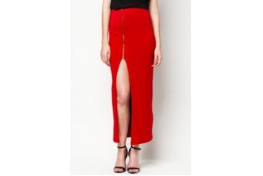 LASH Solid Maxi Skirt With Side Zipper