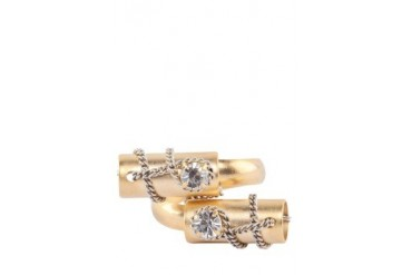 Double Gold Design Crystals Ring