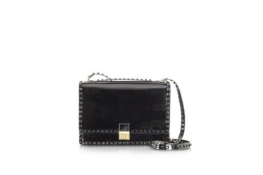 Black Rockstud Patent Leather Shoulder Bag