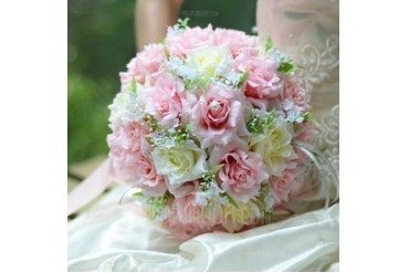 Sweet Round Satin Bridal Bouquets (124032102)