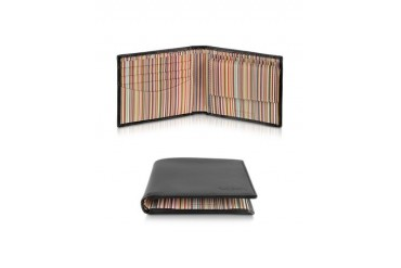 Signature Stripe Interior Billfold and Coin Wallet