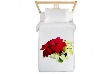 Poinsettias Red and Yellow Christmas Twin Duvet by CafePress