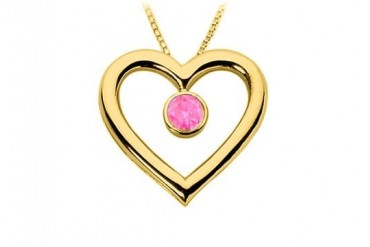 Sapphire Heart Pendant 18K Yellow Gold Vermeil Sterling Silver 0.75 CT TGW