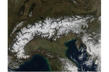 Satellite view of the Alps.